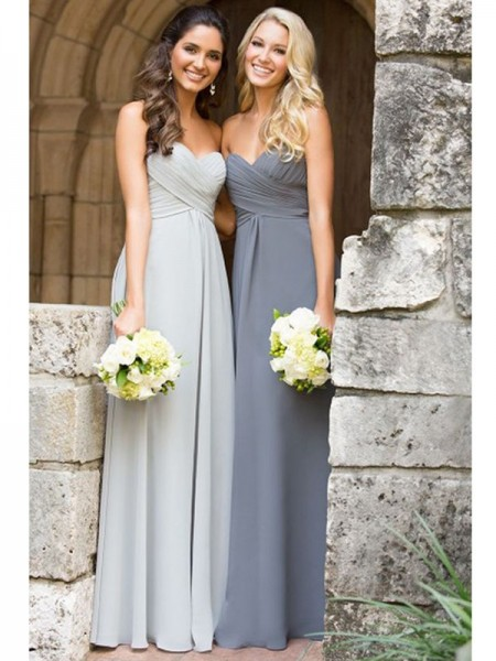 A-Line/Princess Sweetheart Floor-Length Ruched Chiffon Bridesmaid Dress