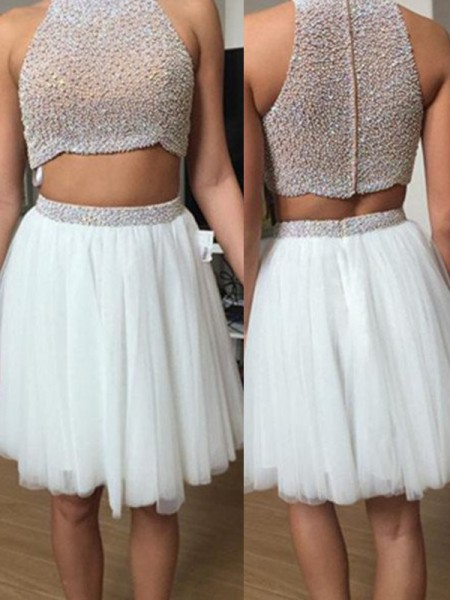 A-Line/Princess High Neck Tulle Short/Mini Two Piece Dress