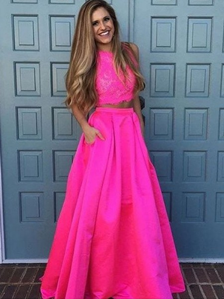 A-Line/Princess Scoop Floor-Length Lace Satin Two Piece Dress