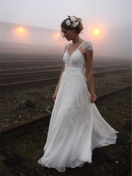 A-Line/Princess V-neck Floor-Length Lace Chiffon Wedding Dress