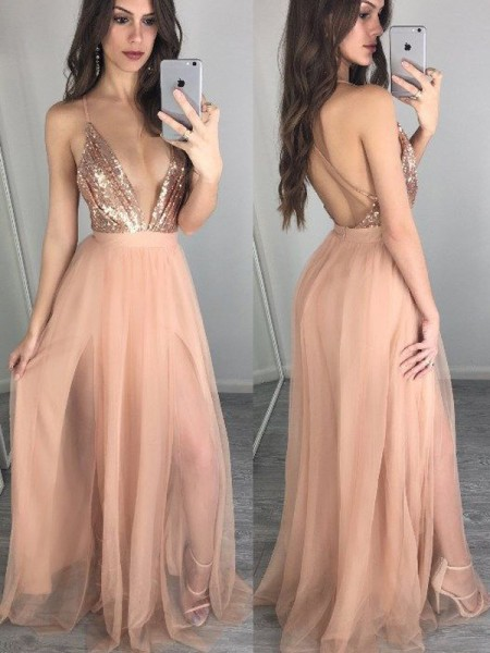 A-Line/Princess Spaghetti Straps Chiffon Floor-Length Sequin Dress
