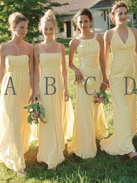 A-Line/Princess Floor-Length Chiffon Bridesmaid Dress