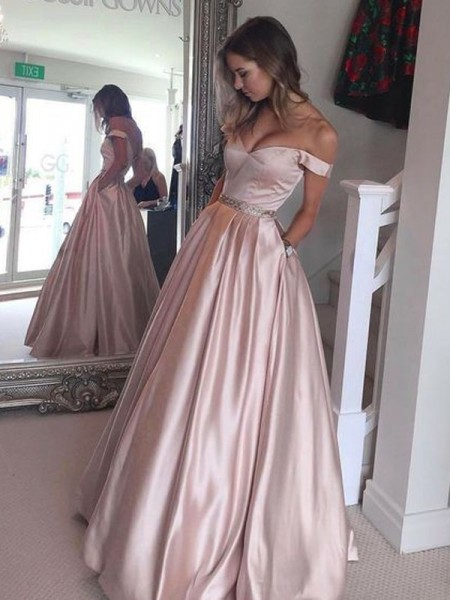 A-Line/Princess Off-the-Shoulder Floor-Length Satin Dress