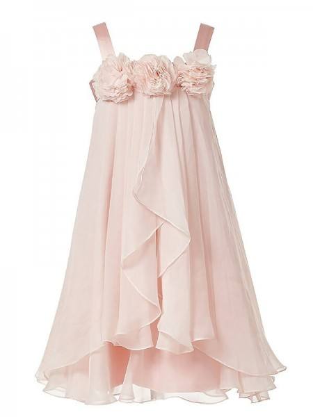 A-Line/Princess Straps Hand-Made Flower Chiffon Tea-Length Flower Girl Dress