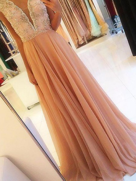 A-Line/Princess V-neck Chiffon Beading Sweep/Brush Train Dress