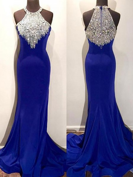 Trumpet/Mermaid Halter Sweep/Brush Train Beading Spandex Dress