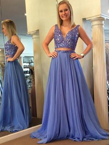 A-Line/Princess V-neck Chiffon Beading Floor-Length Two Piece Dress