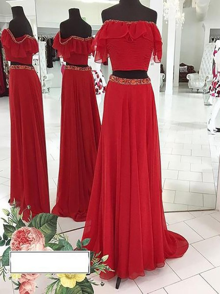 A-Line/Princess Off-the-Shoulder Chiffon Beading Floor-Length Two Piece Dress