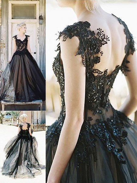 Ball Gown Sweetheart Sweep/Brush Train Tulle Dress with Lace