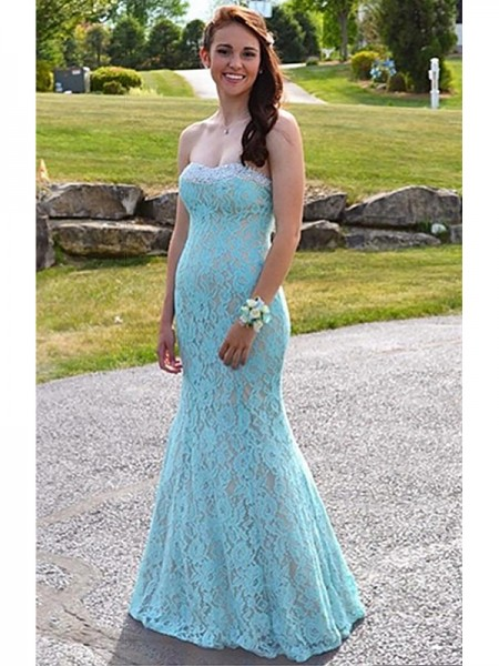 Trumpet/Mermaid Sweetheart Beading Floor-Length Dress with Lace