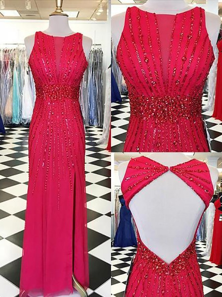 Sheath/Column Bateau Beading Floor-Length Chiffon Dress