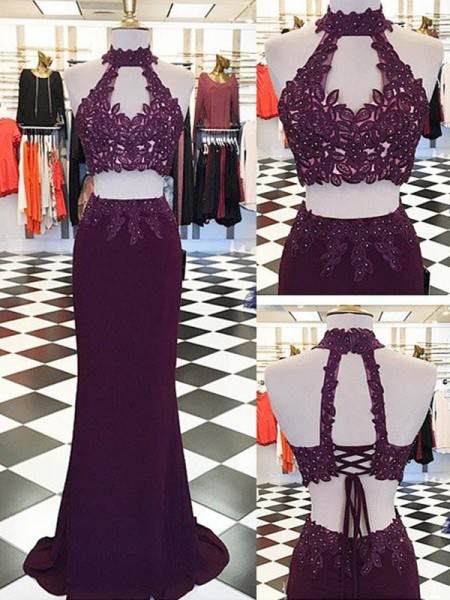 Sheath/Column Halter Applique Floor-Length Spandex Two Piece Dress