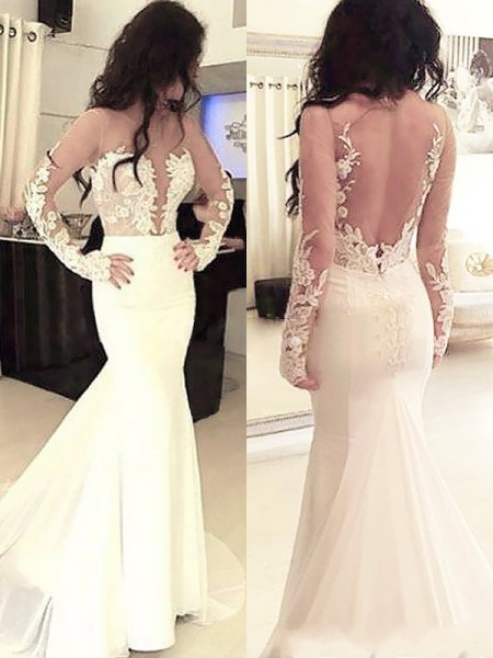 Trumpet/Mermaid Scoop Chiffon Long Sleeves Applique Sweep/Brush Train Dress