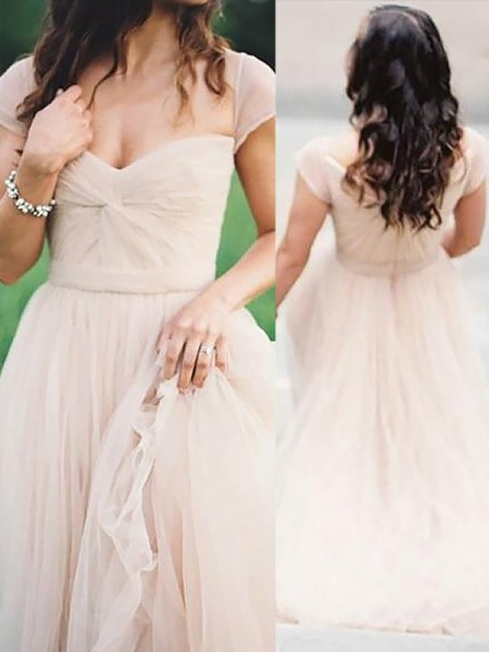 A-Line/Princess Sweetheart Floor-Length Ruched Chiffon Dress