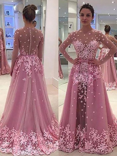 A-Line/Princess Scoop Long Sleeves Applique Tulle Floor-Length Dress