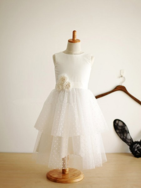 A-line/Princess Jewel Hand-Made Flower Long Tulle Dress