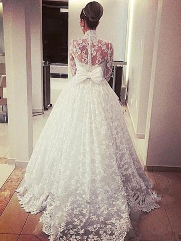 Ball Gown Long Sleeves High Neck Sweep Brush Train Lace Wedding Dress Cindydressy